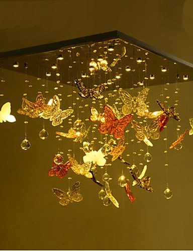 Eighteen Light Crystal Chandelier - Modern LED Ceiling lampCrystal Lamp LED Circular Living Room Butterfly Crystal Lamp 18 , warm white-110-120v