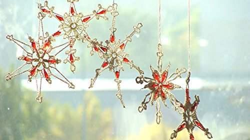 5 Handmade Glamorous Lace Crochet Christmas Snowflakes with Beads, different designs For Sale