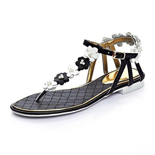 AllhqFashion Womens No Heel Soft Material Solid Buckle Split Toe Sandals Black