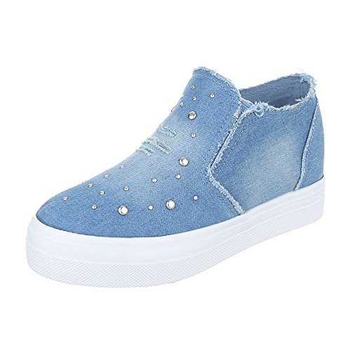 Ital-Design High-Top Sneaker Damenschuhe High-Top Sneakers Freizeitschuhe Blau 6322-Y