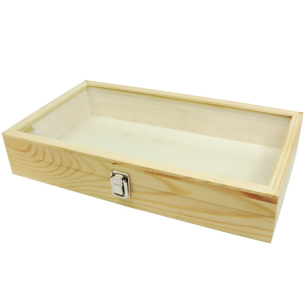 """MOOCA Large Natural Wood Tempered Glass Top Lid Metal Clip Jewelry Display Case, Natural Wood Color, 15"""" X 8.5"""" X 2.87""""H"""