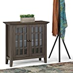 SIMPLIHOME Bedford SOLID WOOD 32 inch Wide Rustic Low Storage Media Cabinet in Farmhouse Grey, with 2 Tempered Glass…