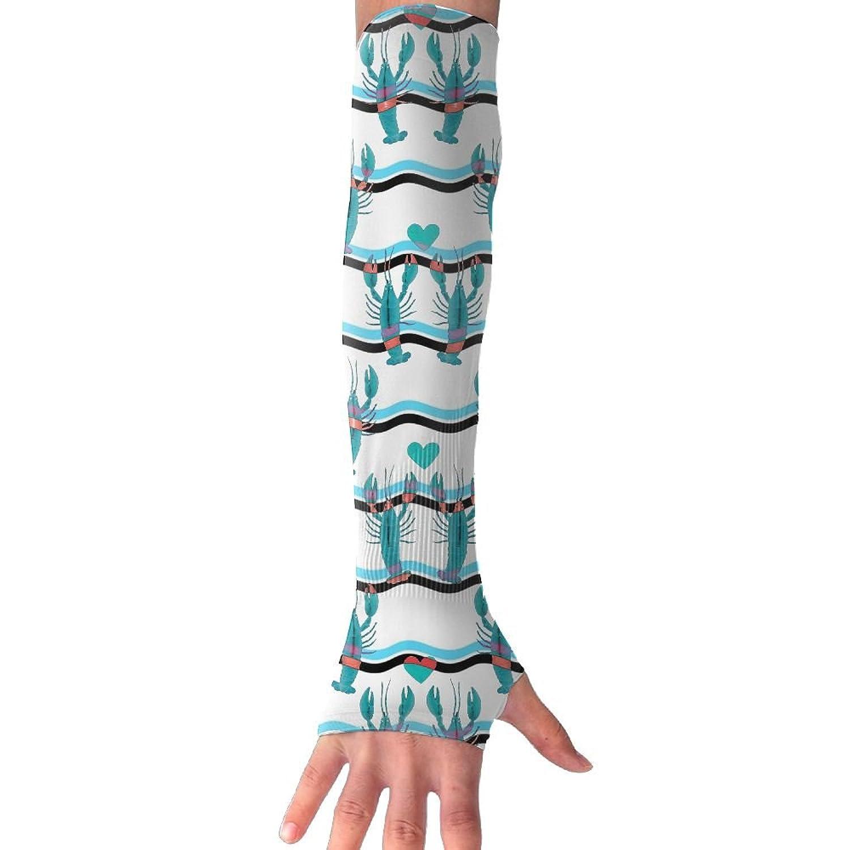 NUNOFOG Funny Lobster Unisex Summer Arm Cover Sleeves Long Fingerless Sun-proof Anti-UV Long Gloves For Outdoor