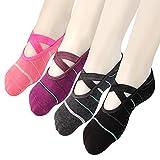 Yoga Socks Non Slip Skid Pilates Ballet Barre with Grips for Women Girls 4 Pack by Cooque (Stripe yoga socks-4 Pack)