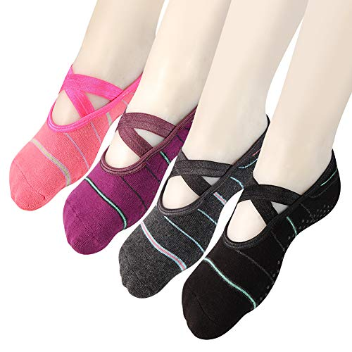 Yoga Socks Non Slip Skid Pilates Ballet Barre with Grips for Women Girls 4 Pack by Cooque (Stripe yoga socks-4 Pack) by Cooque