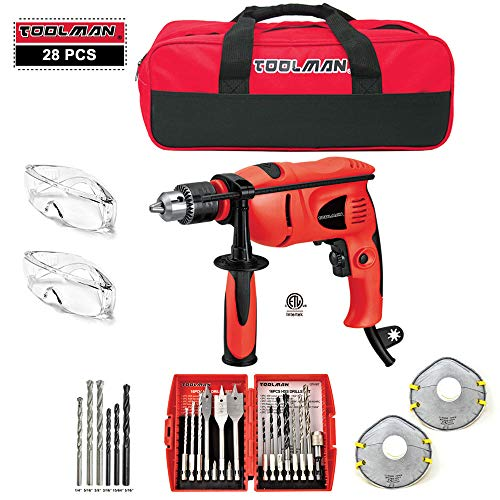 Toolman 28 pcs Electric Power Drill Driver with Drill Driver Bit Set HHS Safety Goggle Glasses and Tool Bag For Heavy Duty Corded works with DeWalt Makita Accessories