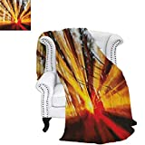 CountryFlannel Single Student blanketPhoto of Magical Sunbeams Trees at Sunset in The Forest