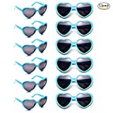 12 Pack Wholesales Heart Shape Design Neon Colors Cute Love Sunglasses for Birthday, Bachelorette, Sunmmer Vacation Parties 100% UV Protection Eyewear for Women and Girls(12 Blue)