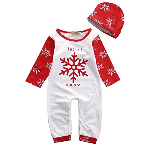 BabiBeauty Baby Girls Boys Let it Snow Snowflake Long Sleeve Pajama With Hat (White & Red, 80/6-12 Months)