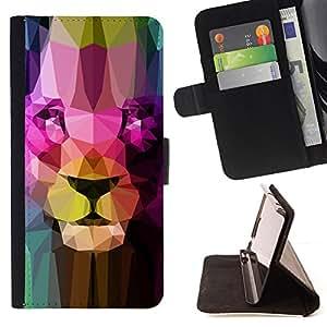- PORTRAIT BIG LION CAT ART STRUCTURE FACE - - Prima caja de la PU billetera de cuero con ranuras para tarjetas, efectivo desmontable correa para l Funny HouseFOR Sony Xperia Z1 Compact D5503