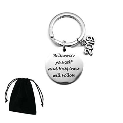 Motivational Keychain 2019 Believe In Yourself And Happiness Will Follow Gift Idea Stainless Steel Inspirational