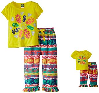 Dollie & Me Little Girls'  Short Sleeve Capri Sleep Pajama Set, Yellow Multi, 6