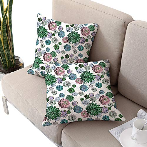 Cactus Decor Square Square Euro Sham Cushion Cover ,Colorful Pattern of Succulent Plants Tropical Foliage Natural Garden Decor Multicolor W20