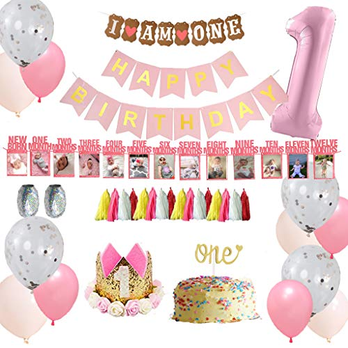 B4MBOO Best Quality 1st Birthday Decorations for Girl Mega Set | Princess Pink and Gold Girls Theme Kit | First Birthday 1 Year Tiara Crown Hat, Cake Topper, Balloons, Happy Birthday Banner, More Decor Supplies