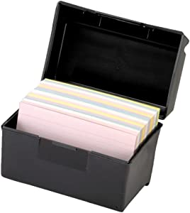 Esselte Oxford 01351 Plastic Index Card Flip Top File Box Holds 300 3 x 5 Cards, Matte Black (1 EA) (2 Pack)