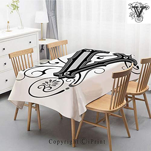 Pure Linen Plain Tablecloth Athena,Natural Rectangular Table Cloth for Indoor and Outdoor Use,Natural Tablecloth,55x70 Inch,Letter V,Gothic Halloween Style Uppercase V with Curved Lines Ivy Stripes Ca ()