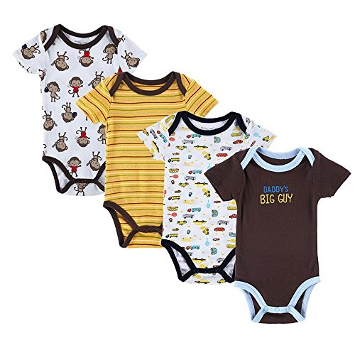 Katoot@ 4PCS Baby Brand Boy Girl Bodysuits Short Sleeve Striped Style Newborn Clothes Bodysuits & One-Pieces Baby Clothig (4-6 Months)