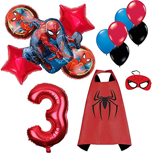 CuteTrees Spiderman Spider Man 3rd birthday balloons birthday decorations and super hero cape and felt mask and number balloons and more 14 pcs