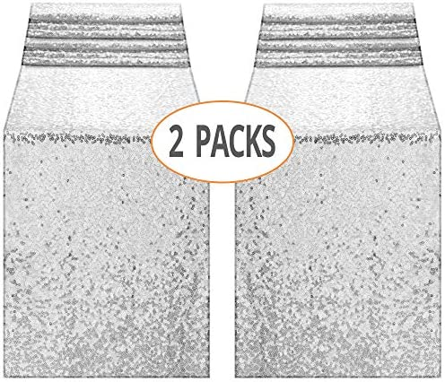 2 Pack 12×72-Inch Sequin Table Runner for Event Bridal Wedding Wedding Graduation Birthday Baby Shower Party Supplies Decorations