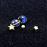 YAMULA 5 Pcs Stud Set Amazing Planet, Star&Moon Stud Earrings for Girls