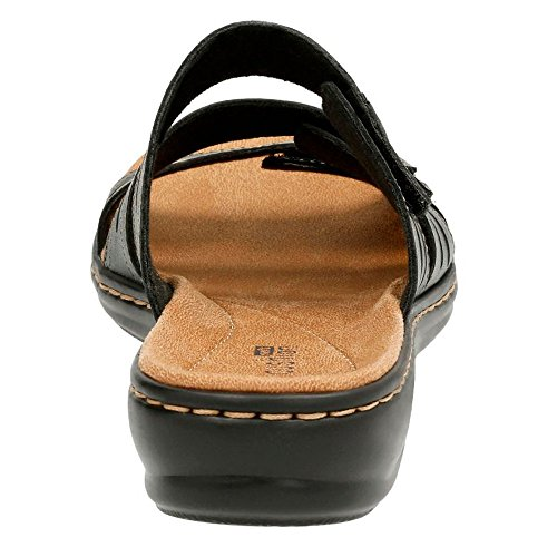 Clarks Leisa Broach Womens Slide Sandals Black Leather 7.5 W gLF6SicX
