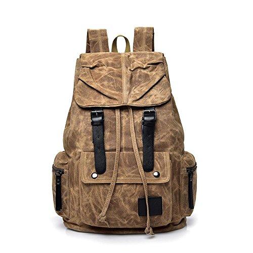 Aoligei Sac à dos de tourisme de plein air sport toile homme grande capacité Double sac à bandoulière loisirs Voyage sac masculines C