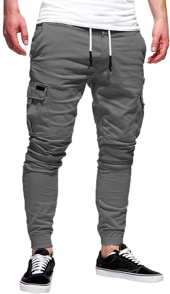 Armfer Bathing suit Mens Skinny Cargo Joggers Slim Fit Multi Pockets Sweatpants Drawstrings Casual Gym Workout Track Pants