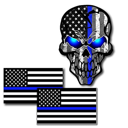 3 Pack Car Decals Stickers Reflective US Flag with Thin Blue Line and Skull,...