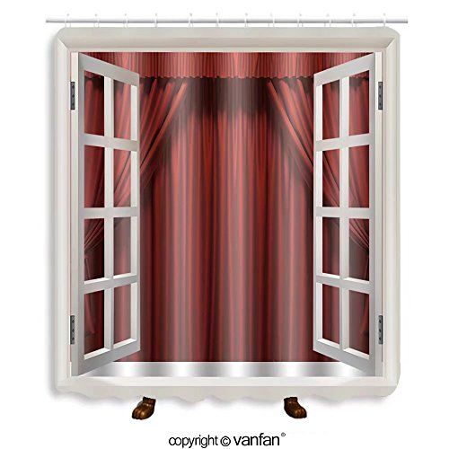 Vanfan designed Windows 71481181 Theater curtain. Presentation. Movies Shower Curtains,Waterproof Mildew-Resistant Fabric Shower Curtain For Bathroom Decoration Decor With Shower Hooks