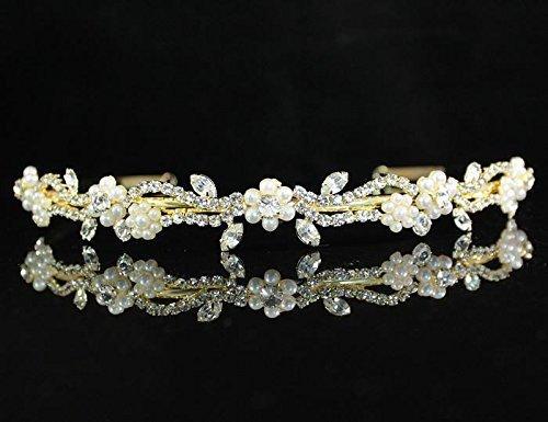 Toned Crystal Rhinestone (Janfashions Floral Clear Austrian Rhinestone Crystal Pearl Headband Tiara Bridal T129712)