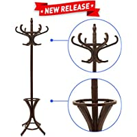 Liverpool Floor Standing Coat Rack Stand – 6' Tall - Use with Jackets, Hats, Scarves, Purses, Suits, Umbrellas and Backpacks - Entryway Coat Rack Hat Hanger – BONUS Umbrella Stand -Dark Walnut