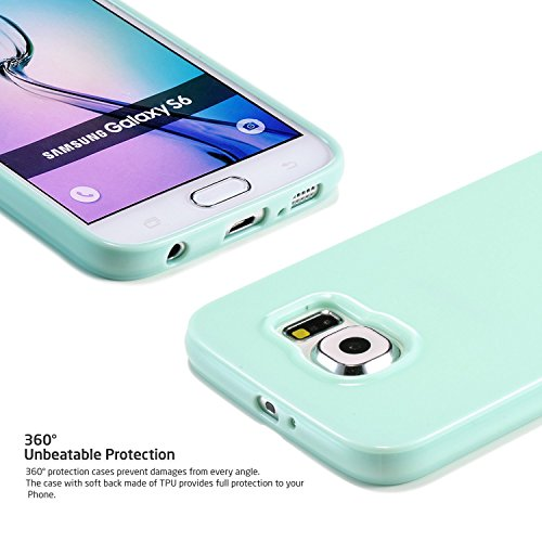 UTLK Galaxy S6 Edge Case, Camera Protective Case for Galaxy S6 Edge [Slim Fit] Soft Rubber Gel- Galaxy S6 Edge Silicone Cover - Scratch Resistant Bumper Case for Galaxy S6 Edge (Mint Green)