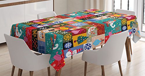 Christmas Decorations Tablecloth by Ambesonne, Modern Design Xmas Theme with Funny Christmas Winter Patterns Kids Children Decor, Dining Room Kitchen Rectangular Table Cover, 60 X 84 Inches