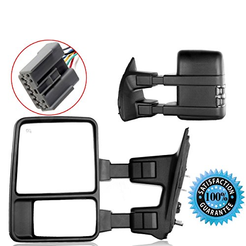 Scitoo Power Heated LED Smoke Signal Towing Mirrors For 03-07 Ford F250 F350 F450 F550 Super Duty Side View Mirror Pair Set (Ford F250 Super Duty Mirrors compare prices)