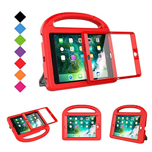 BMOUO Case for iPad Mini 1 2 3 - Built-in Screen Protector, Shockproof Lightweight Hard Cover Handle Stand Kids Case for iPad Mini 1st 2nd 3rd Generation, Red