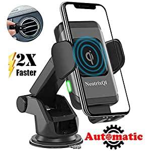 NeotrixQI Wireless Car Charger Mount, Automatic Clamping Induction Qi Fast  Charging Car Mount Air Vent Dashboard Phone Holder 7 5W for iPhone Xs