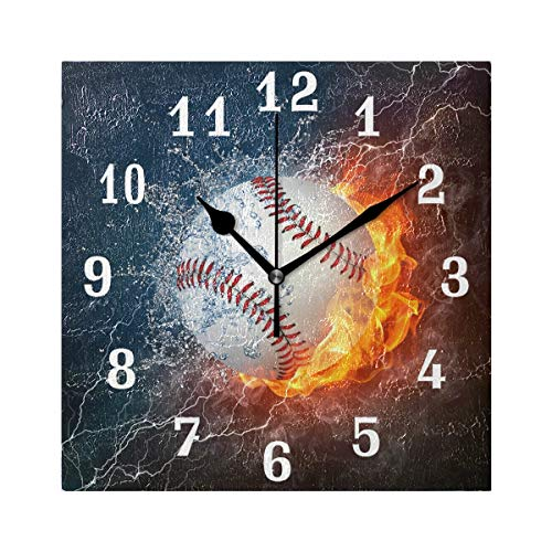 - SEULIFE Wall Clock Sport Baseball in Fire Water, Silent Non Ticking Clock for Kitchen Living Room Bedroom Home Artwork Gift