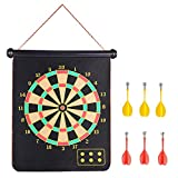 RaboSky Tectron Roll-up Magnetic Dart Board Set, Fabric Double Sided Hanging Rubber DartBoard with 6PCS Dart Flights and 10PCS Replacement Dart-Tip