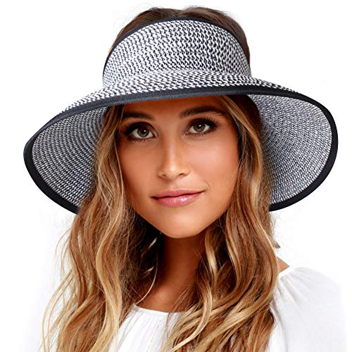 Sun Visor Hats for Women Wide Brim Straw Roll Up Ponytail Summer Beach Hat UV UPF 50 Packable Foldable Travel FURTALK (One Size, 21.6''-23.6'' Mix Black White) -