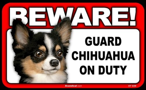 BEWARE Guard Dog on Duty Sign - Chihuahua - Long Haired