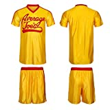 Dodgeball Joe's Yellow Jersey & Shorts Adult Men Women Average Gym Halloween Costume Set (Small)