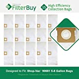 15 - Shop-Vac 90661 906-61 9066100 Bags. Designed by FilterBuy to replace Shop Vac 5-8 Gallon 90661 Dust Collection Vacuum Bags