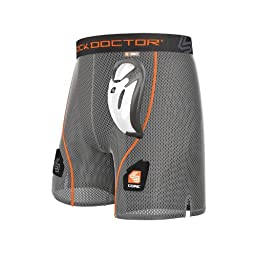Shock Doctor Men\'s Core Loose Hockey Shorts with Bio-Flex Cup, Small