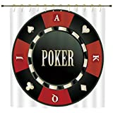 Shower Curtain,Poker Tournament,Casino Chip with Poker Word in Center Rich Icon Card Suits Decorative,Army Green Vermilion White,Polyester Shower Curtains Bathroom Decor Sets with Hooks