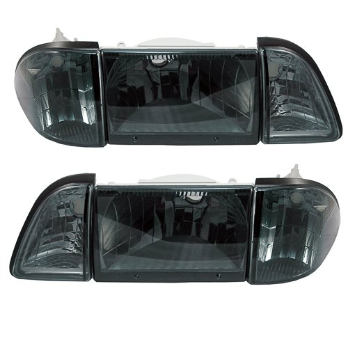 1987-1993 Mustang 6pc Euro Smoked Headlights with Amber Side Markers (Headlights Mustang Euro)