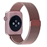 Apple Watch Band, YSH Milanese Fully Magnetic Closure Clasp Mesh Loop Stainless Steel iWatch Band Replacement Wrist Bracelet Strap for Apple Watch Sport&Edition 38MM (Rose Gold)