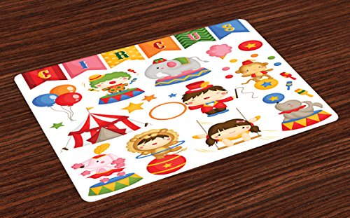 Lunarable Circus Place Mats Set of 4, Carnival Circus Happy Children Girls Boys Hat Cotton Candy Stars and Swing Lion, Washable Fabric Placemats for Dining Room Kitchen Table Decoration, Multicolor - Circus Placemat