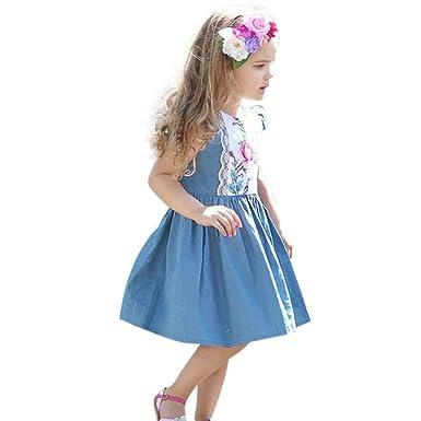 Vestido Bebe Niña de 1 a 5 años, K-Youth Vestido Vaquero Bordado ...