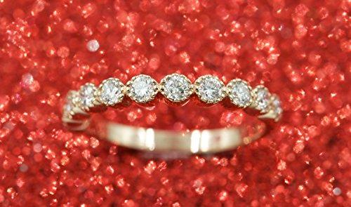 Eternity Band Bezel Half (Diamond Half Eternity Band.Rose Bezel Round Diamond Wedding Band.Art Deco Diamond Ring.Miligram Matching Diamond Band.Dainty Eternity Ring)