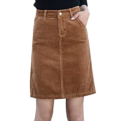 Deofean Women's Short Vintage A-Line Corduroy Skirts With Pockets